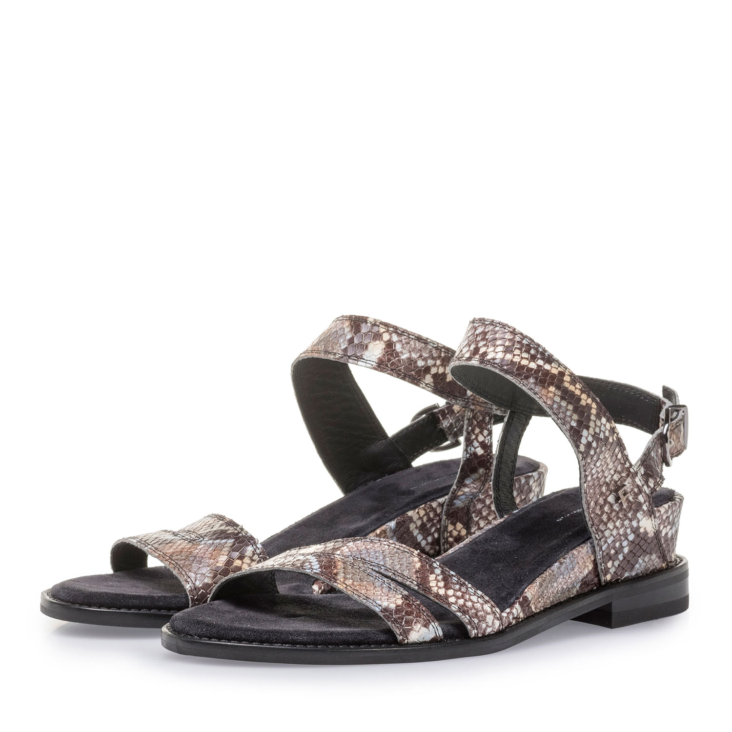 85931/01 - Brown and white leather sandals with snake print