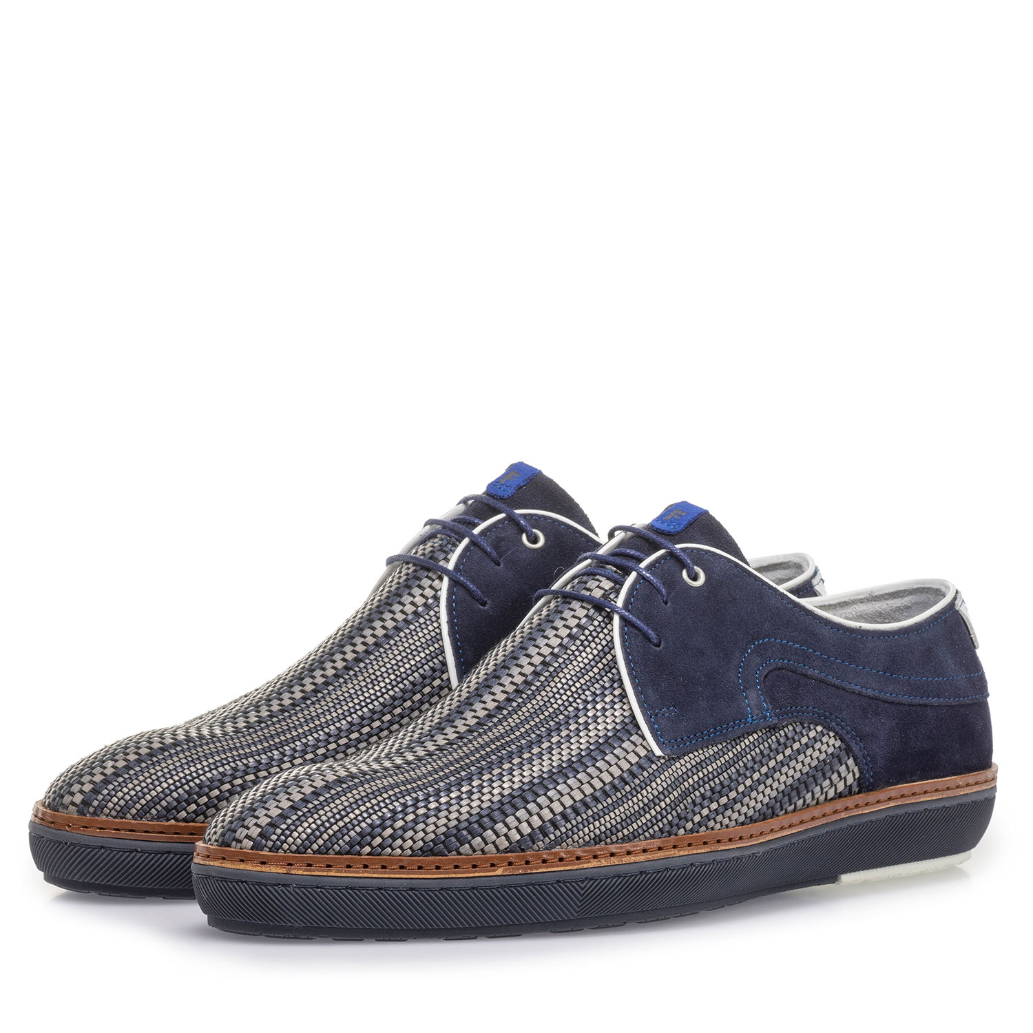 14020/34 - Dark blue lace shoe with grey print