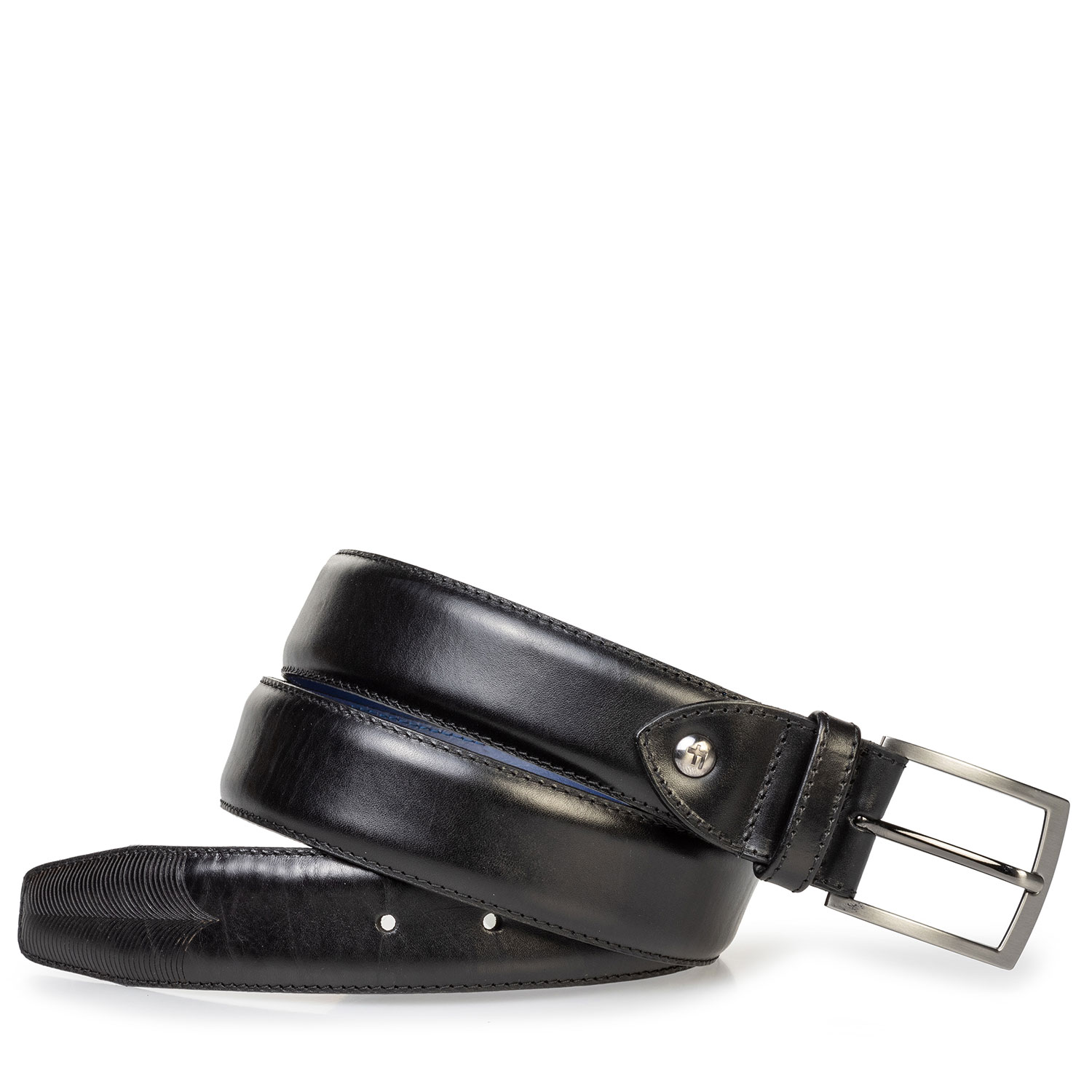 75217/02 - Leather belt with laser-cut print black