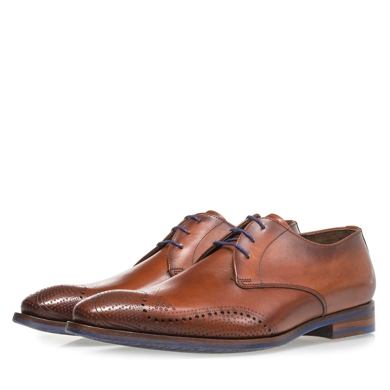 18175/00 - Dark cognac-coloured calf leather lace shoe