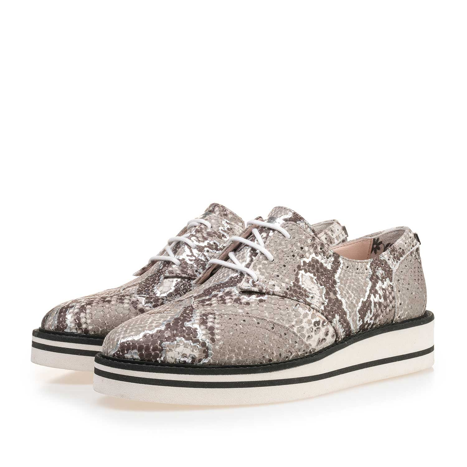 85225/03 - Taupe-coloured brogue leather lace shoe with snake print