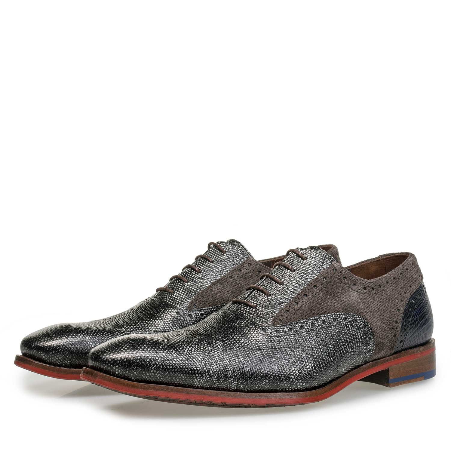 19117/01 - Grey Premium calf leather lace shoe