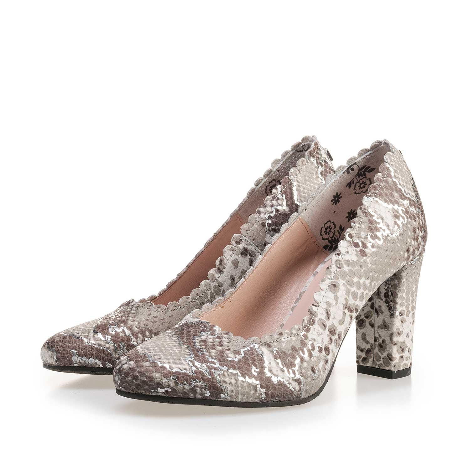 85249/03 - Taupe-coloured leather pumps with snake print