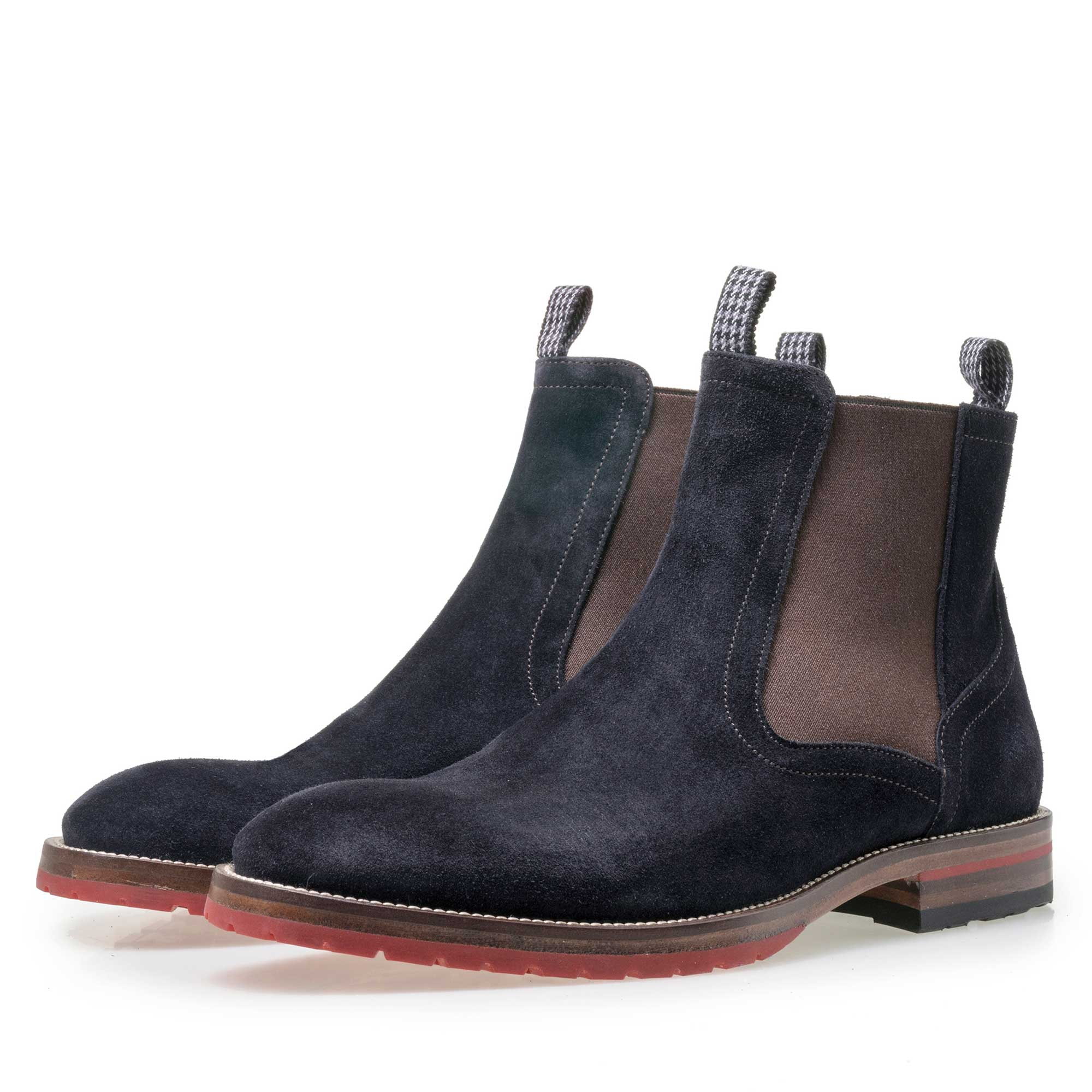 10976/00 - Floris van Bommel men's blue suede leather Chelsea boot