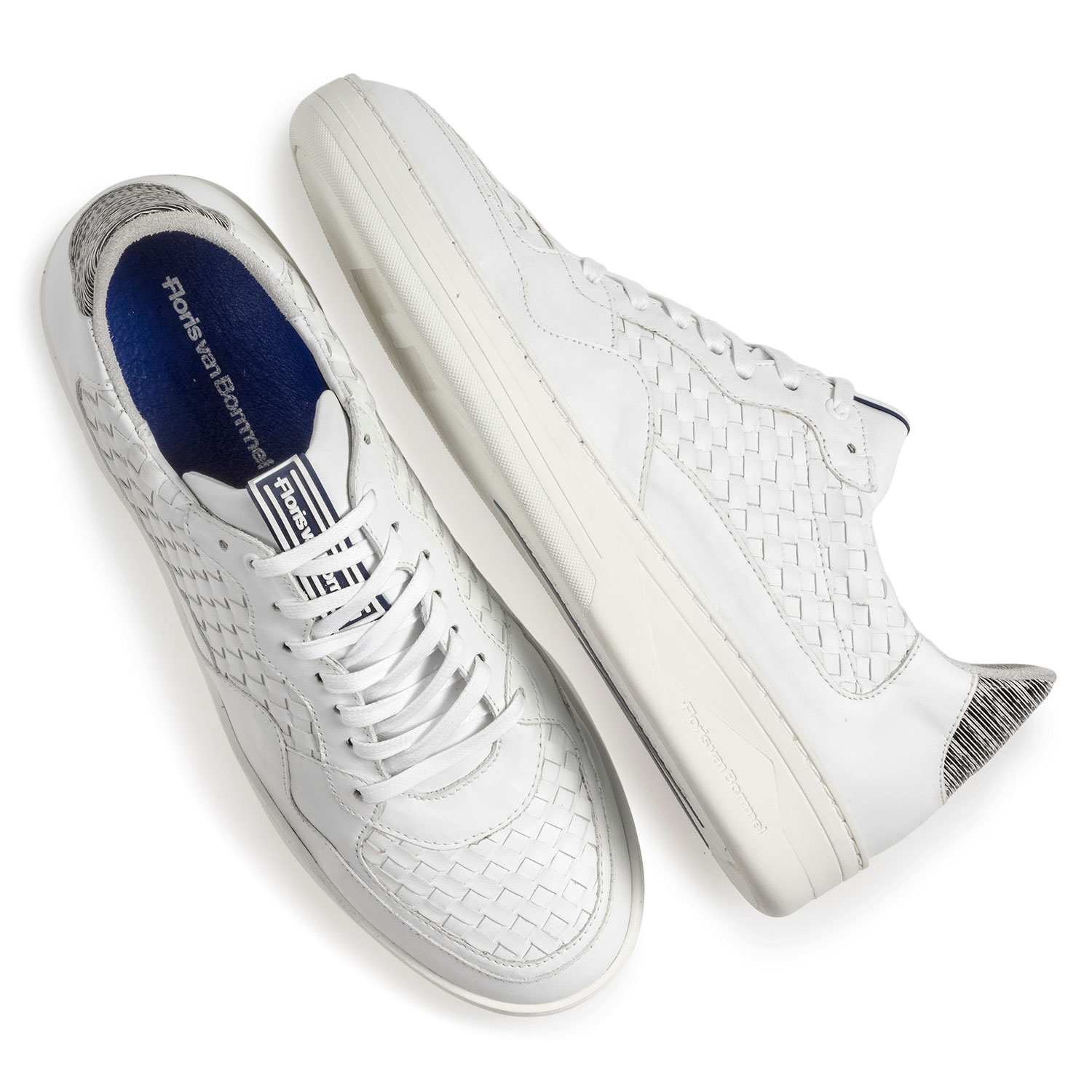 16265/02 - White braided calf leather sneaker