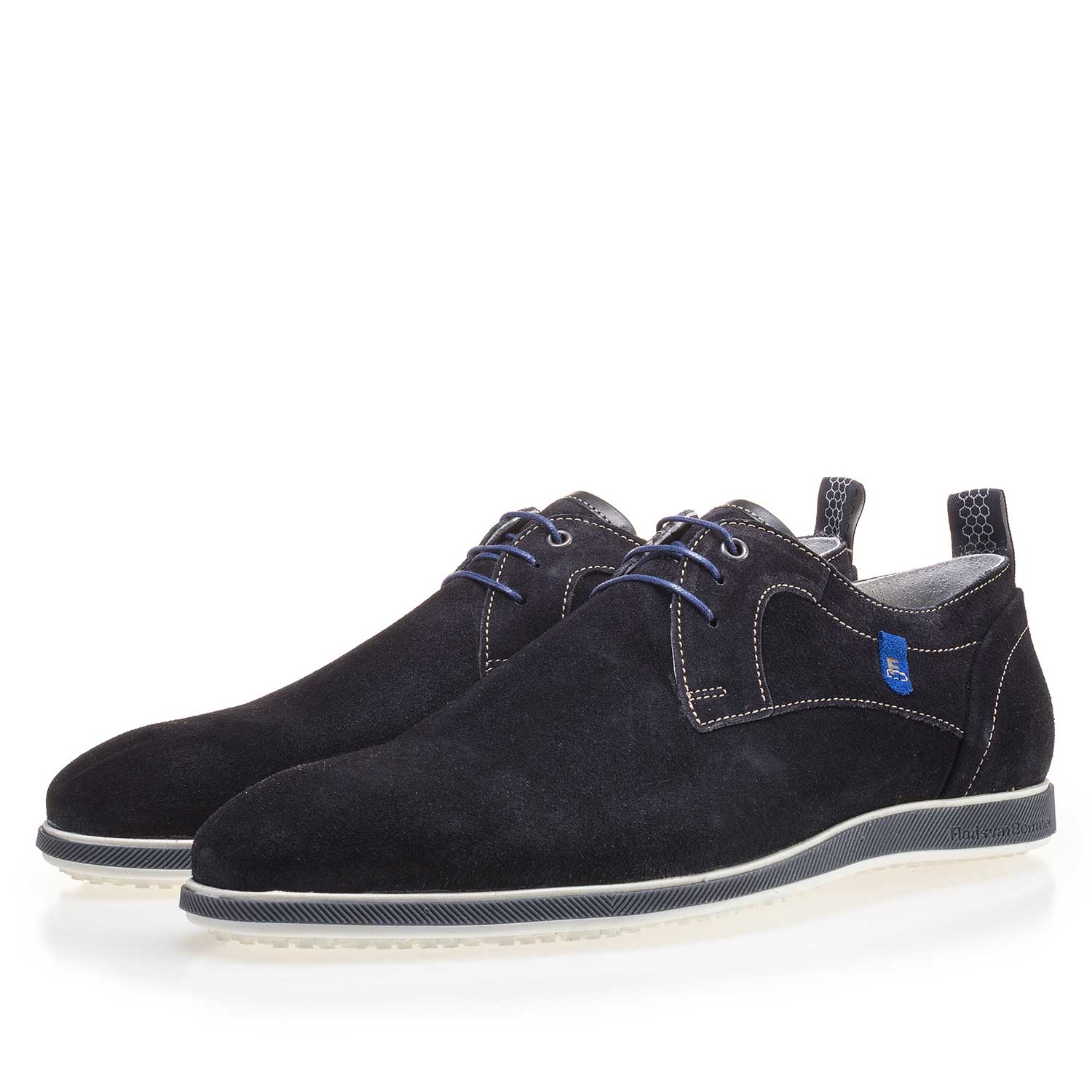 14076/00 - Dark blue suede leather lace shoe