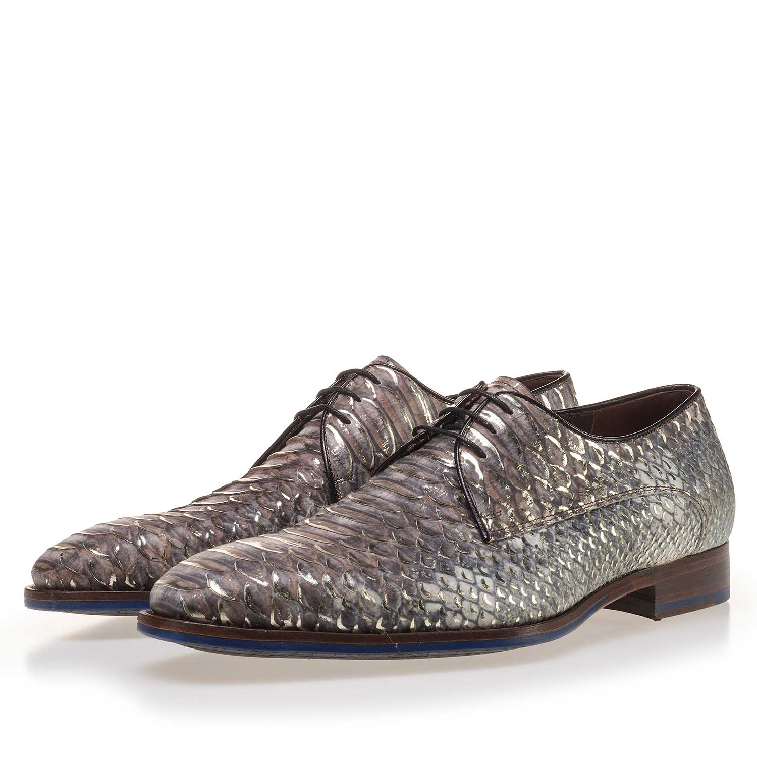 14170/01 - Taupe-coloured leather lace shoe finished with a snake print