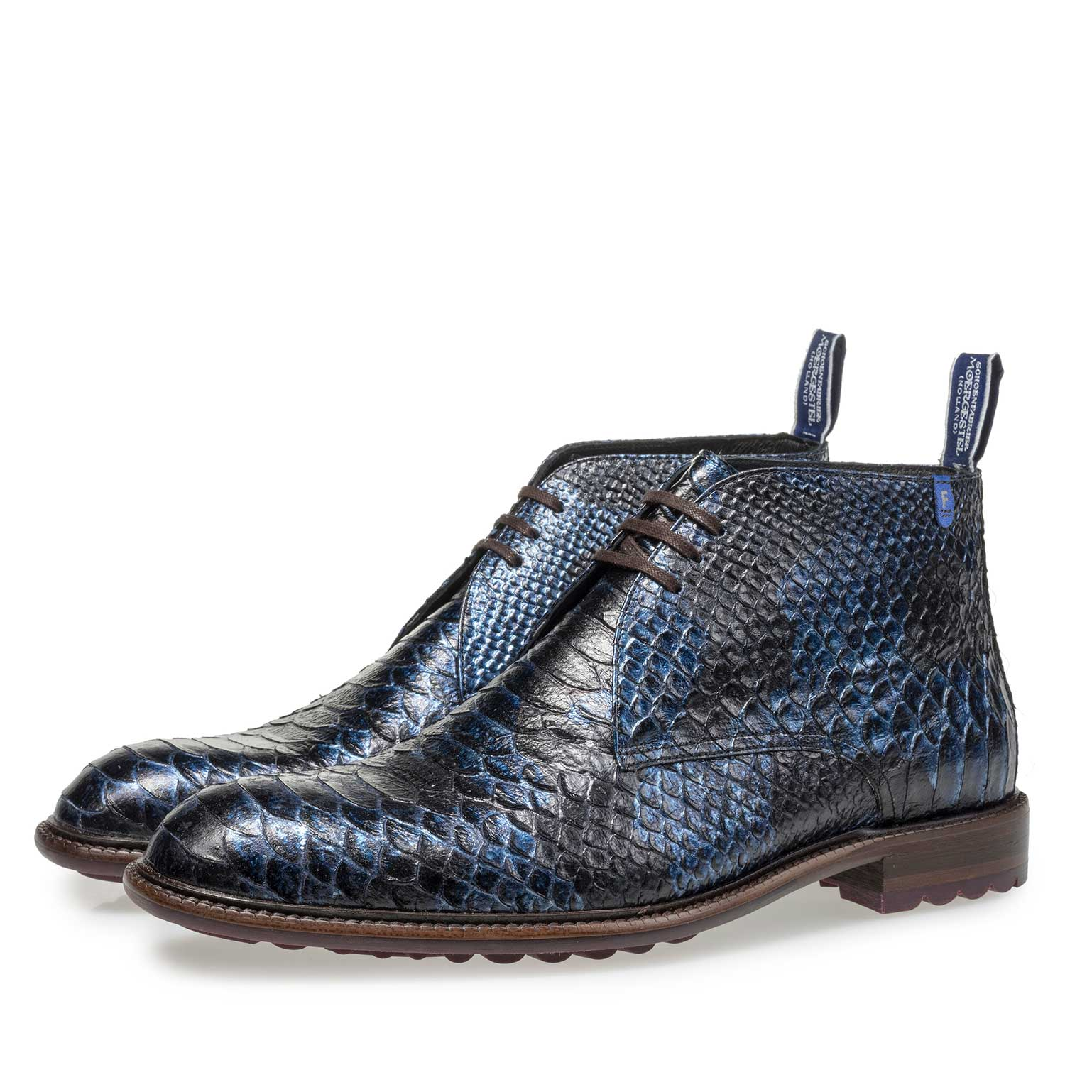 10203/11 - Blue lace boot with snake print