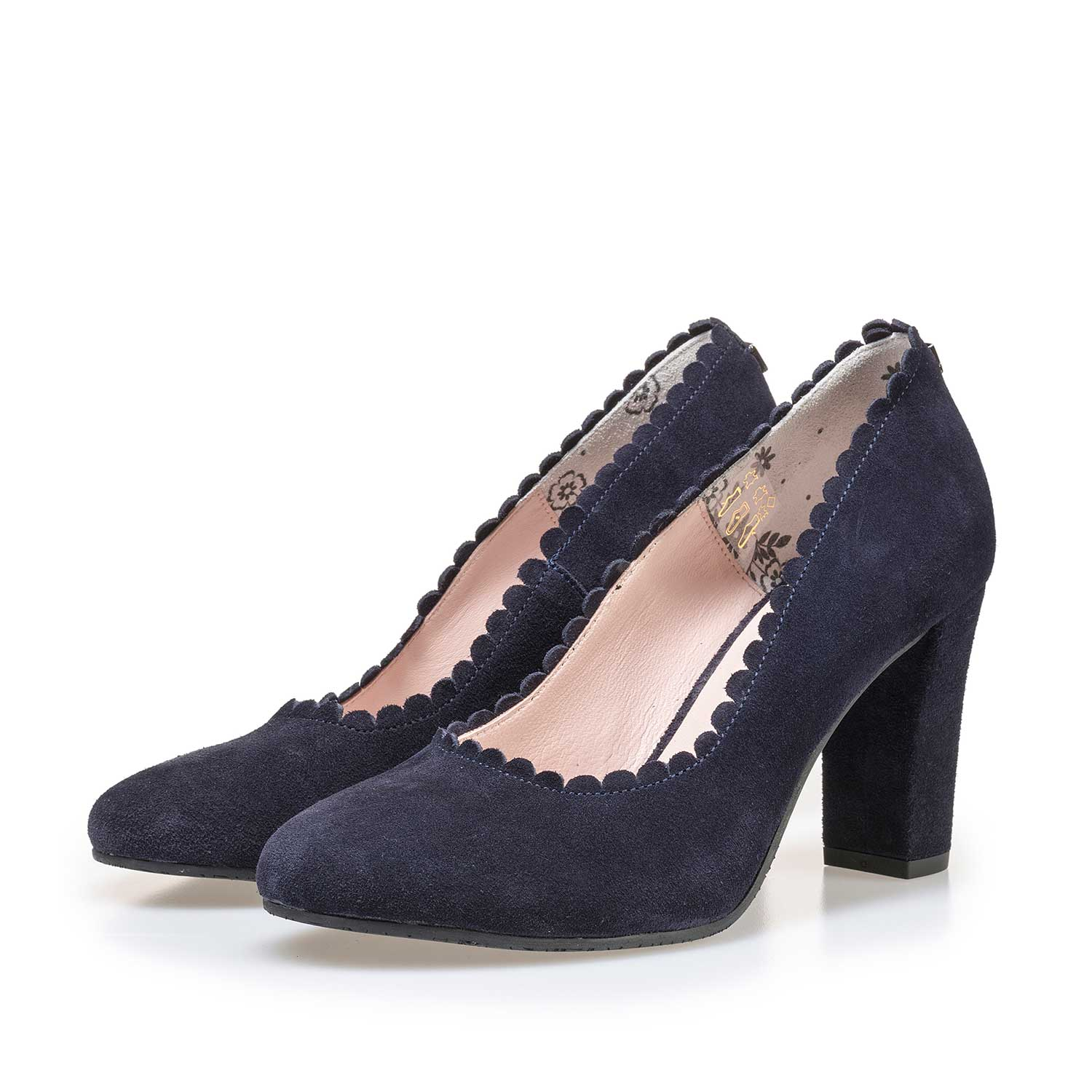 85249/04 - Dark blue calf's suede leather pumps