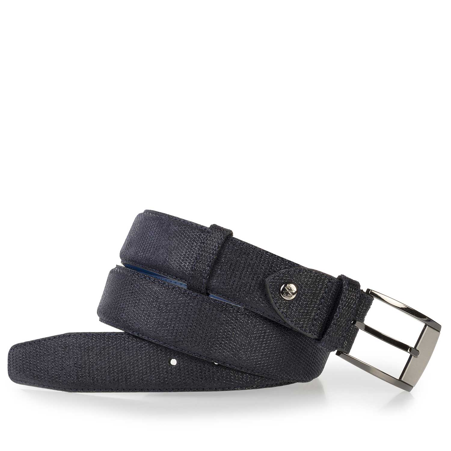 75180/22 - Blue suede leather belt with pattern
